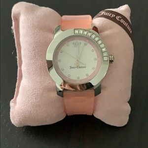 Juicy Couture pink rubber band watch